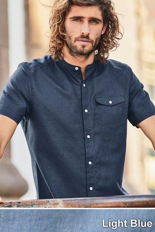 Next Linen Blend Grandad Shirt - Short Sleeve