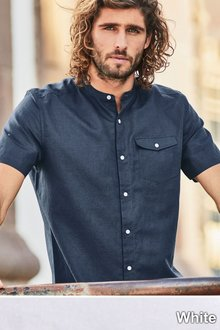 Next Linen Blend Grandad Shirt - Short Sleeve