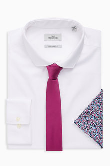 Next White Regular Fit Single Cuff Shirt With Tie And Pocket Square Set