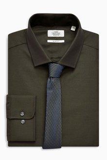 Next Tonic Slim Fit Shirt And Tie Set - Slim Fit Single Cuff