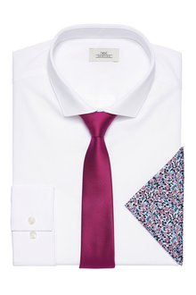 Next White Slim Fit Single Cuff Shirt With Tie And Pocket Square Set