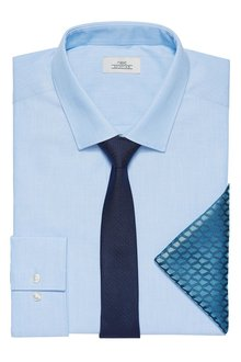 Next Light Blue Slim Fit Single Cuff Shirt With Tie And Pocket Square Set