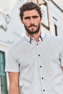 Next White Short Sleeve Geo Print Double Collar Shirt