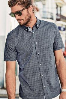 Next Navy Short Sleeve Geo Print Double Collar Shirt