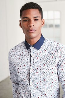 Next Ditsy Floral Contrast Collar Slim Fit Shirt