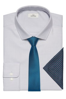 Next Textured Slim Fit Shirt With Tie And Pocket Square