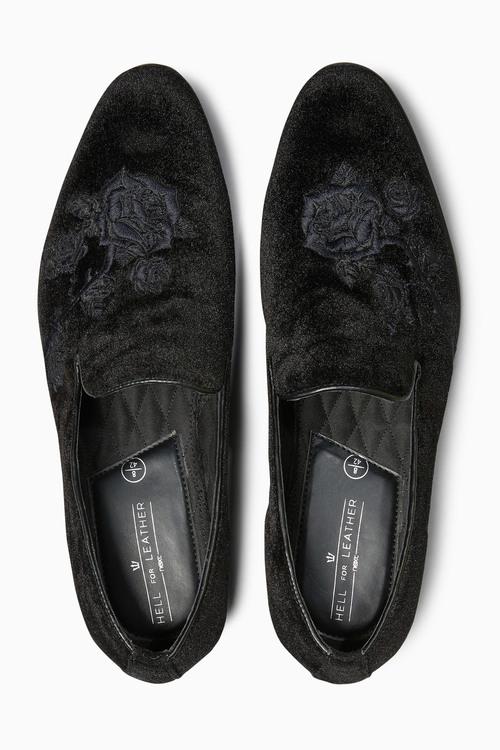 Next Velvet Embroidered Loafer