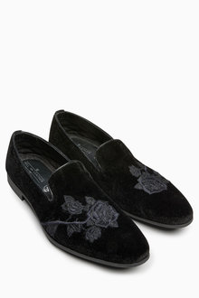 Next Velvet Embroidered Loafer