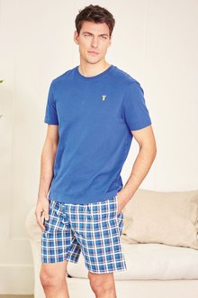 Next Cobalt Check Woven Short Set