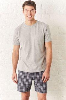 Next Grey Check Woven Short Set