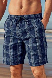 Next Seersucker Check Long Swim Shorts