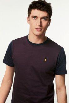Next Burgundy Jacquard Badge T-Shirt