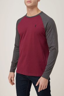 Next Red/Black Long Sleeve Embroidered Raglan