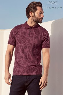 Next Burgundy Leaf Print Polo