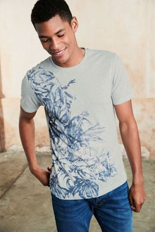 Next Blue Floral Printed T-Shirt