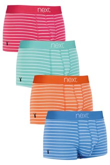 Next Stag Embroidery Stripe Hipsters Four Pack