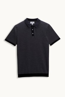 Next Navy Stripe Short Sleeve Knitted Polo