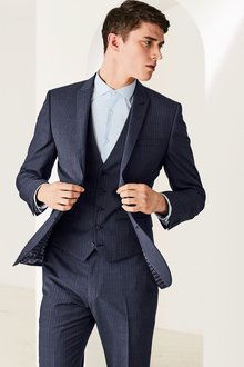 Next Navy Striped Slim Fit Suit: Jacket