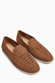 Next Tan Weave Loafer
