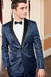 Next Light Blue Patterned Skinny Fit Tuxedo Suit: Jacket