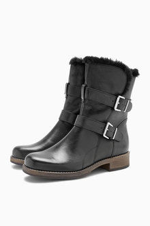 Next Sheepskin Collar Biker Boots