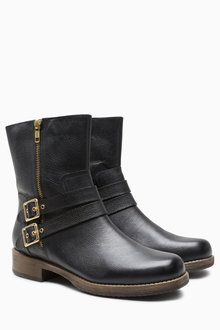 Next Buckle Detail Biker Boots