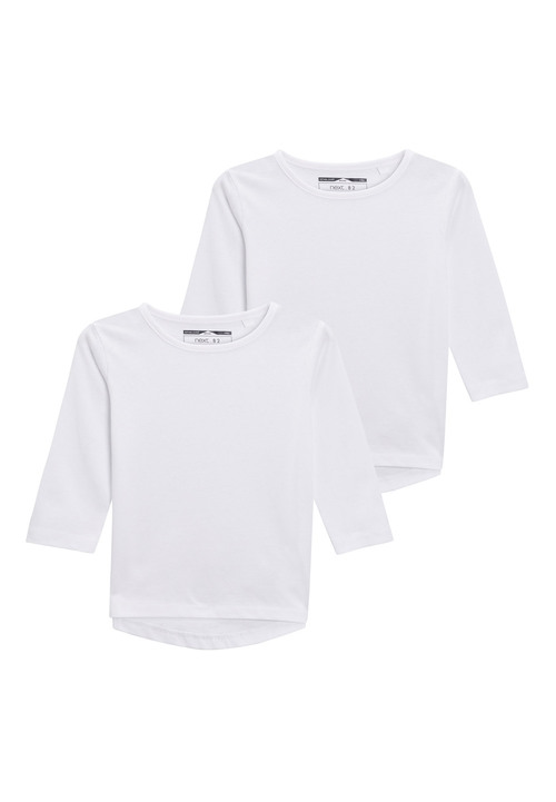 Next White Long Sleeve T-Shirts Two Pack (3mths-6yrs)