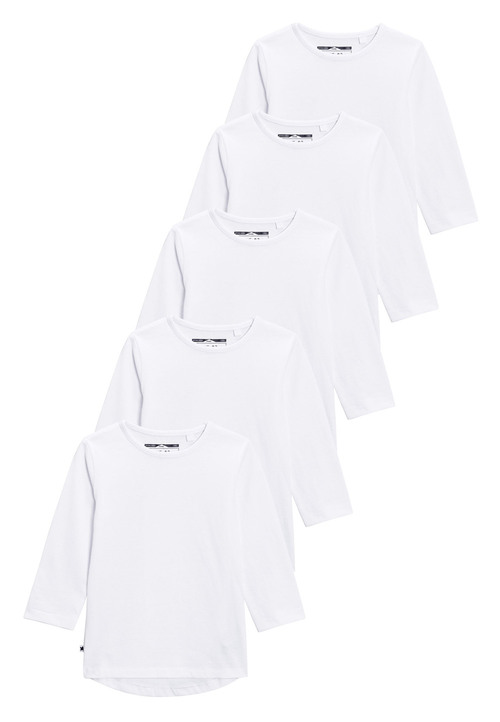 Next White Long Sleeve T-Shirts Five Pack (3mths-6yrs)