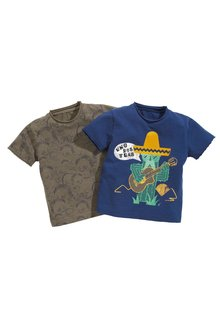 Next Cactus And Dinosaur Print Short Sleeve T-Shirts Two Pack (3mths-6yrs)