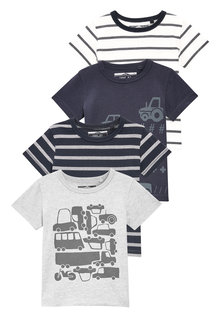 Next Car And Stripe T-Shirts Four Pack (3mths-6yrs)