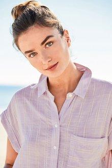 Next Lilac/Ecru Stripe Shirt
