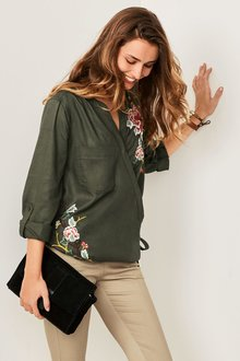 Next Embroidered Tencel  Wrap Top