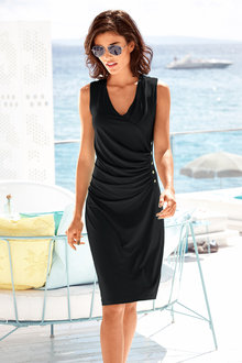 Heine V Neck Draped Dress - 202599