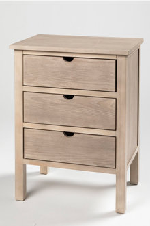 Madsen Three Drawer Bedside Table - 202603