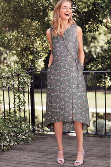 Next Bird Print Sleeveless Dress - Tall