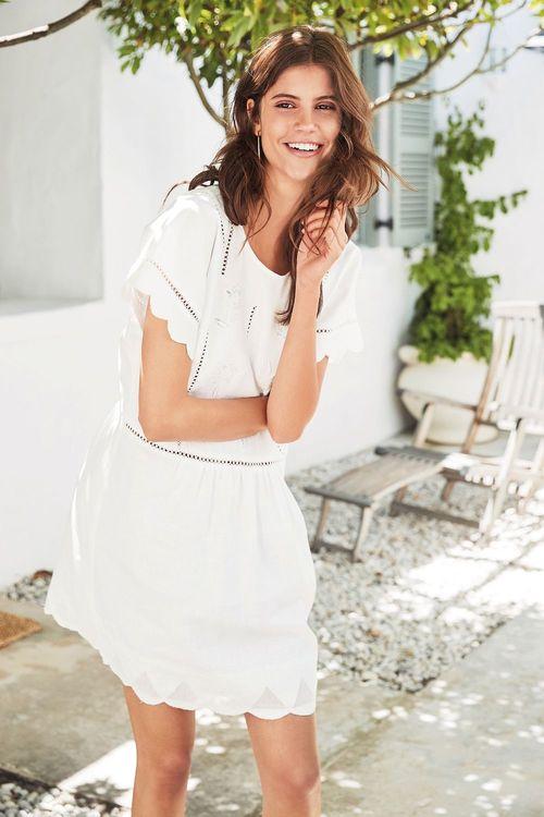 Next Linen Embroidered Dress - Tall