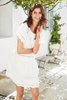 Next Linen Embroidered Dress - Tall - 202631