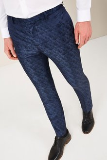 Next Light Blue Patterned Skinny Fit Tuxedo Suit: Trousers
