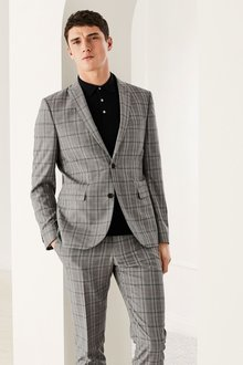 Next Light Grey Check Slim Fit Suit: Trousers