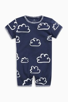 Next Cloud And Stripe Short Leg Rompers Three Pack (0mths-2yrs)