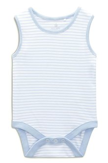 Next Blue/White Vests Four Pack (0mths-3yrs)