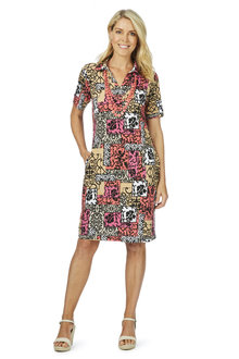 W.Lane Patch Work Print Shirt Dress