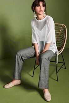 Next Linen Blend Slouch Trousers - Petite