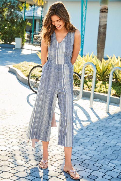 Next Linen Blend Stripe Jumpsuit