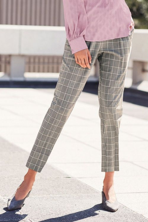 Next Pink/Grey Check Taper Trousers - Petite