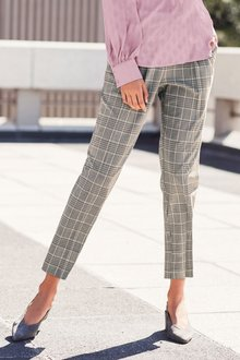Next Pink/Grey Check Taper Trousers - Petite - 203087