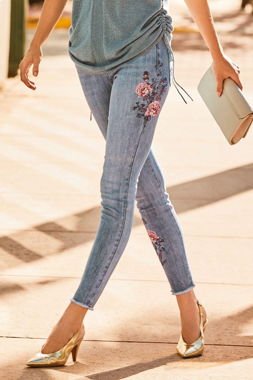 Next Embroidered Flower Jeans Online | Shop EziBuy