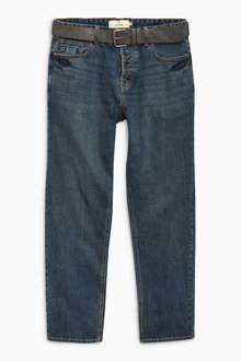 Next Dirty Denim Straight Fit Belted Jeans