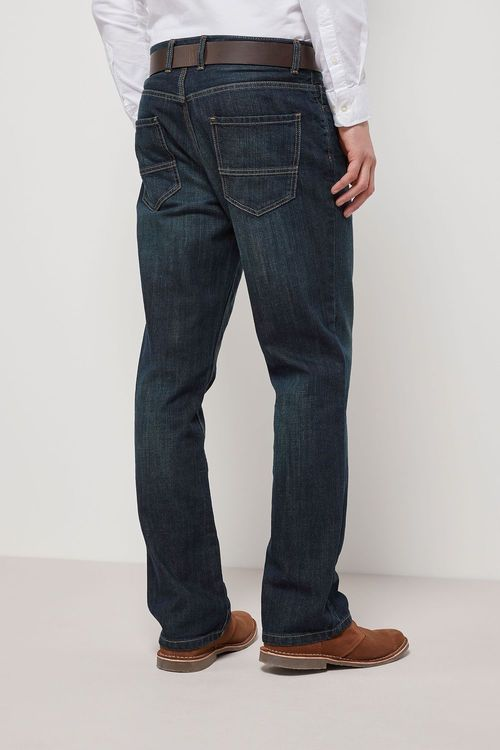 Next Dark Wash Boot Fit Belted Jeans