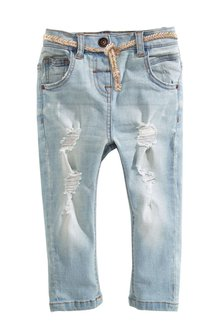 Next Distressed Jeans With Belt (3mths-6yrs)
